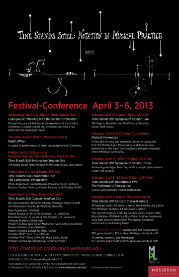 2013 Time Stands Still: Notation in Musical Practice Festival